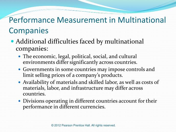Performance Measurement in Multinational Companies