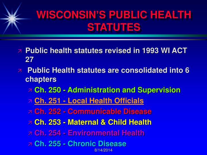 WISCONSIN'S PUBLIC HEALTH STATUTES