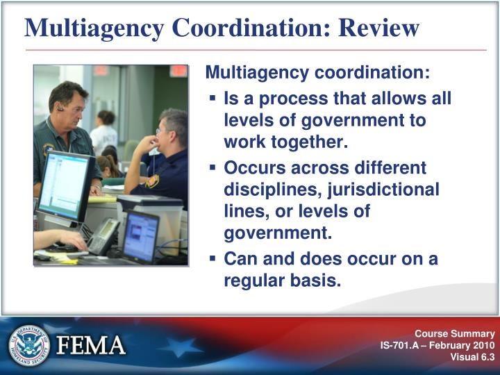 Multiagency coordination review