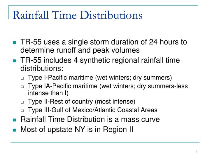 Rainfall Time Distributions