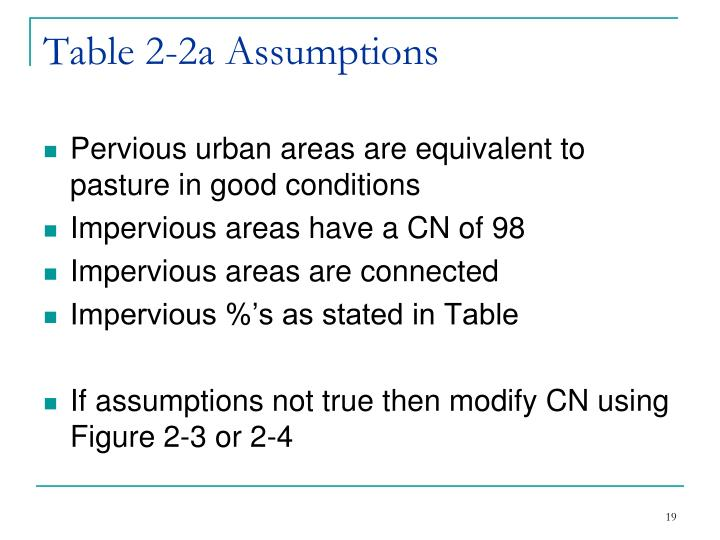 Table 2-2a Assumptions
