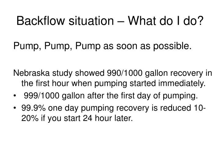 Backflow situation – What do I do?