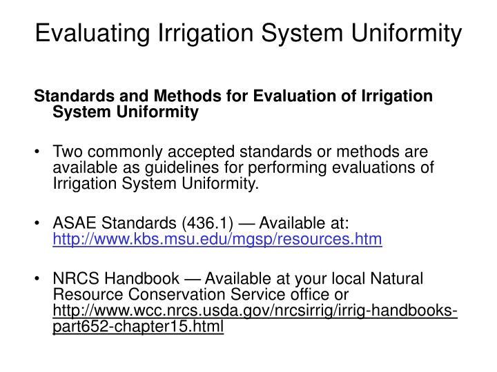 Evaluating Irrigation System Uniformity