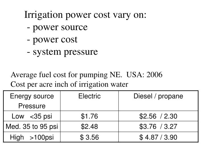 Irrigation power cost vary on:
