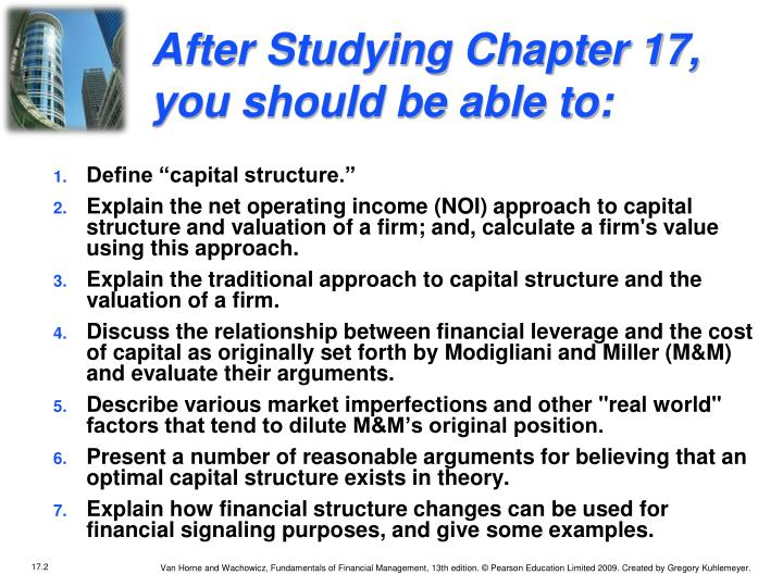 After studying chapter 17 you should be able to
