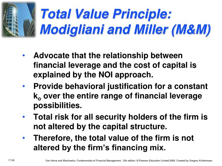 Total Value Principle:  Modigliani and Miller (M&M)