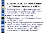 election of 1828 development of modern american politics