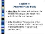 section 4 prosperity and panic