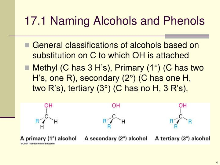 17.1 Naming Alcohols and Phenols