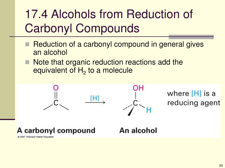 17.4 Alcohols from Reduction of Carbonyl Compounds