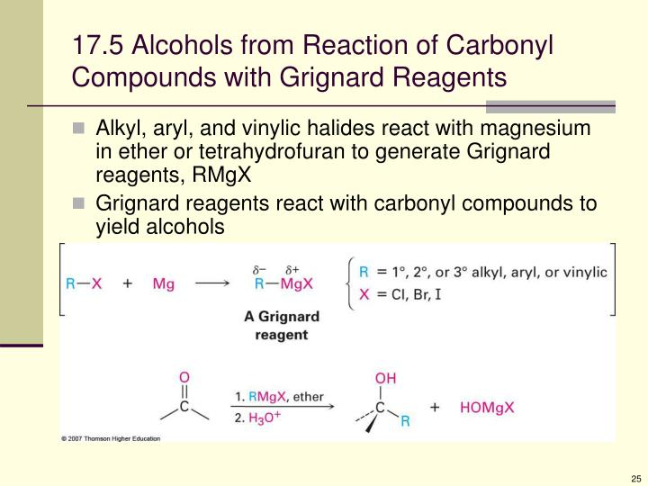17.5 Alcohols from Reaction of Carbonyl Compounds with Grignard Reagents