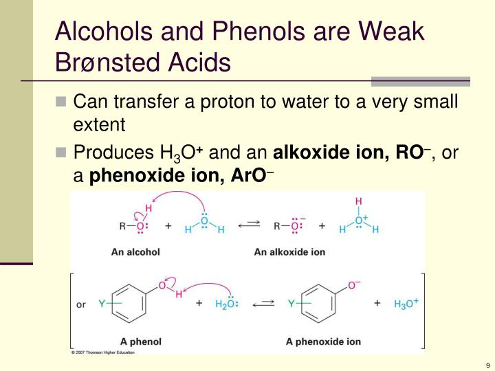 Alcohols and Phenols are Weak Br