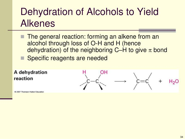 Dehydration of Alcohols to Yield Alkenes