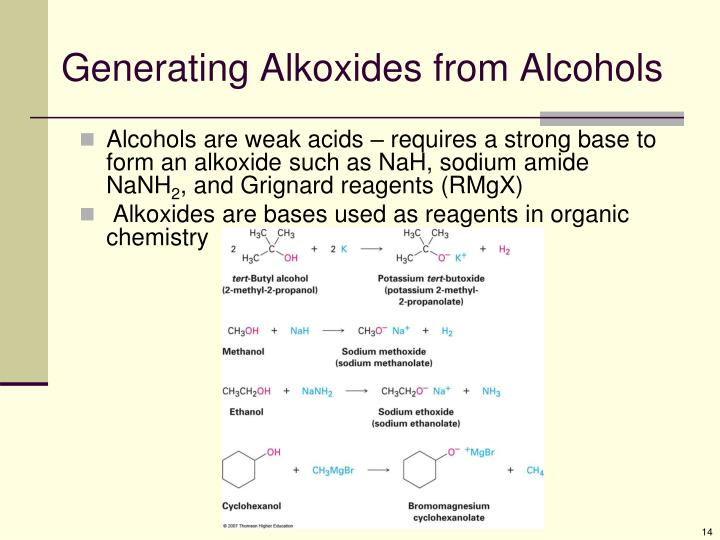 Generating Alkoxides from Alcohols