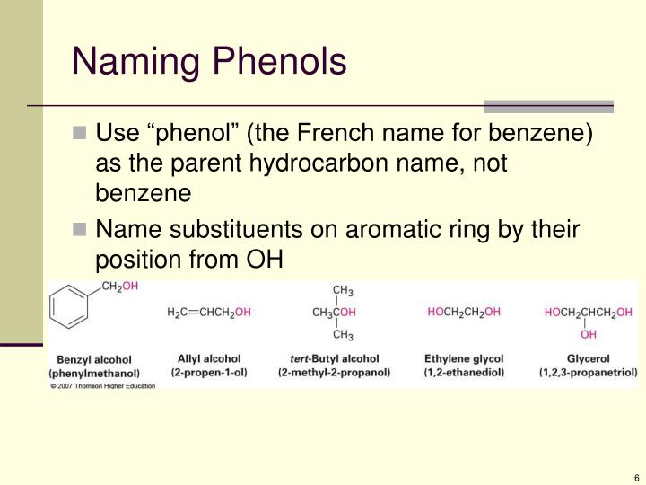 Naming Phenols