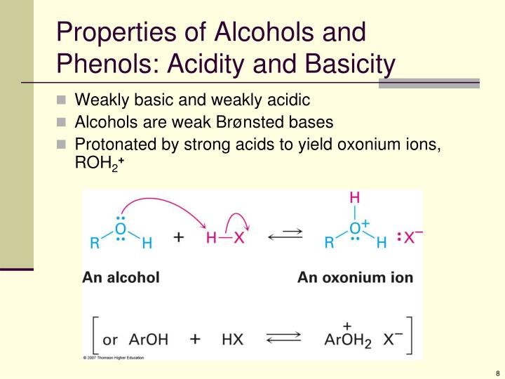 Properties of Alcohols and Phenols: Acidity and Basicity