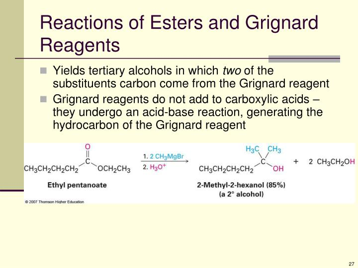 Reactions of Esters and Grignard Reagents