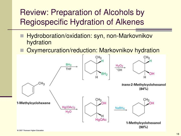 Review: Preparation of Alcohols by Regiospecific Hydration of Alkenes