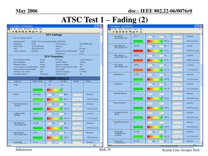 ATSC Test 1 – Fading (2)