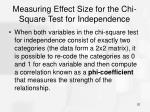 measuring effect size for the chi square test for independence
