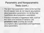 parametric and nonparametric tests cont