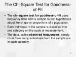 the chi square test for goodness of fit