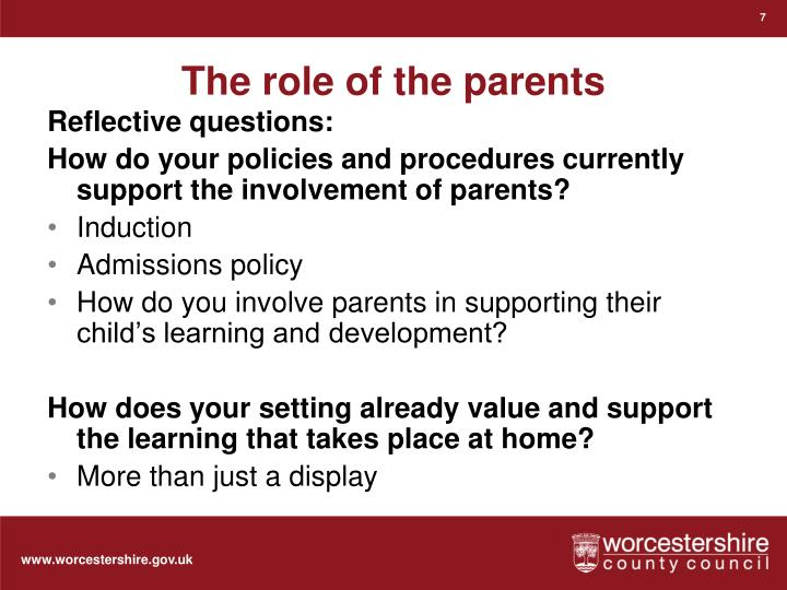 The role of the parents