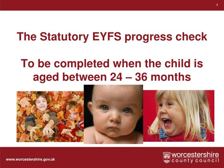 The statutory eyfs progress check to be completed when the child is aged between 24 36 months