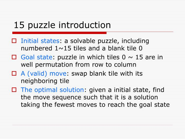15 puzzle introduction