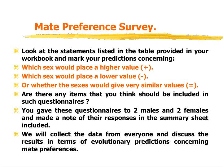 Mate Preference Survey.