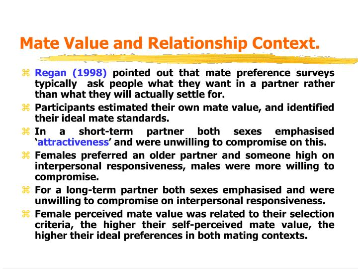 Mate Value and Relationship Context.