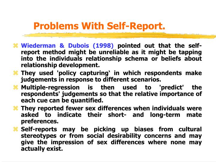 Problems With Self-Report.