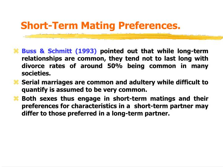 Short-Term Mating Preferences.