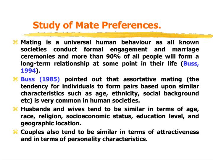 Study of Mate Preferences.