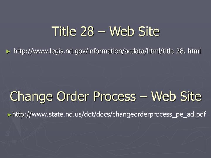 Title 28 – Web Site