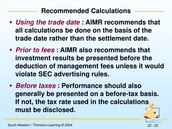 Recommended Calculations