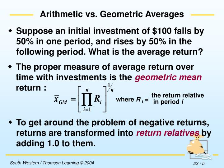 The proper measure of average return over time with investments is the
