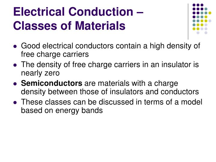 Electrical Conduction – Classes of Materials