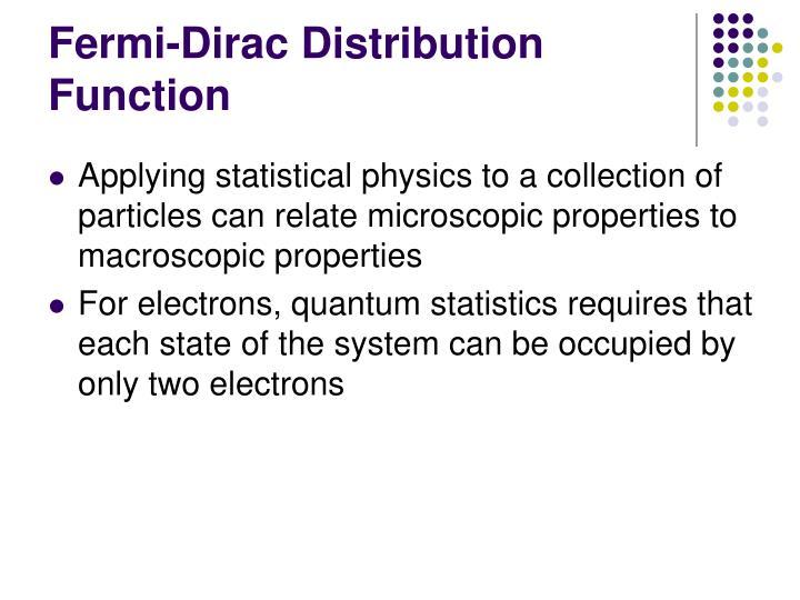 Fermi-Dirac Distribution Function