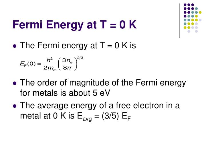 Fermi Energy at T = 0 K