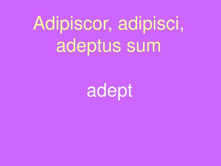 Adipiscor, adipisci, adeptus sum