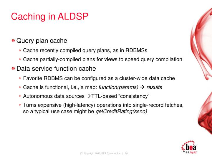 Caching in ALDSP