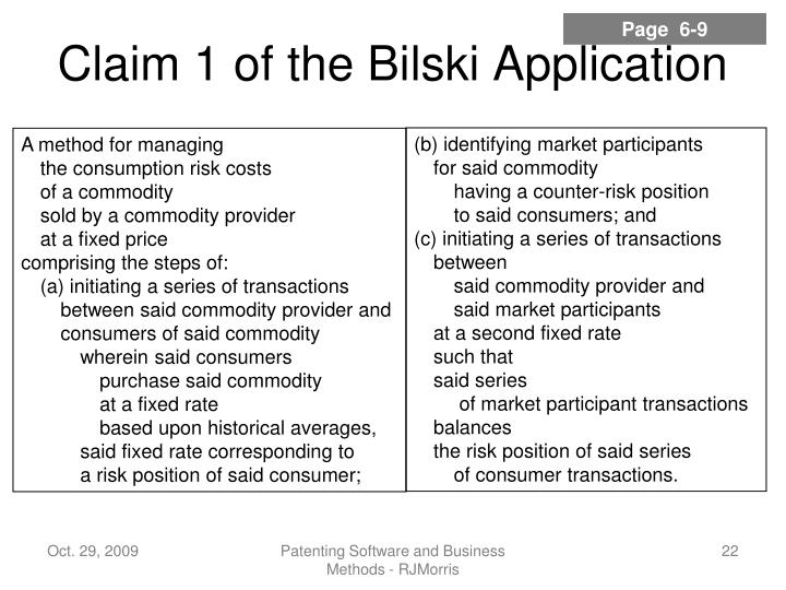 Claim 1 of the Bilski Application