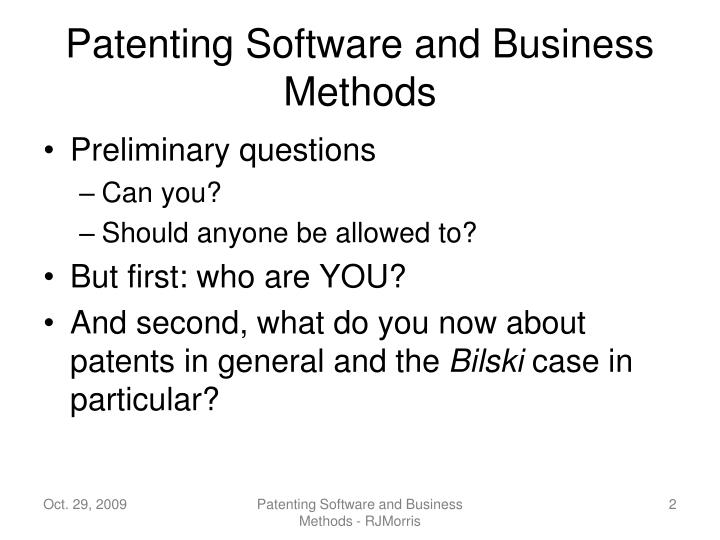 Patenting Software and Business Methods