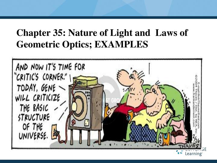 Chapter 35 nature of light and laws of geometric optics examples