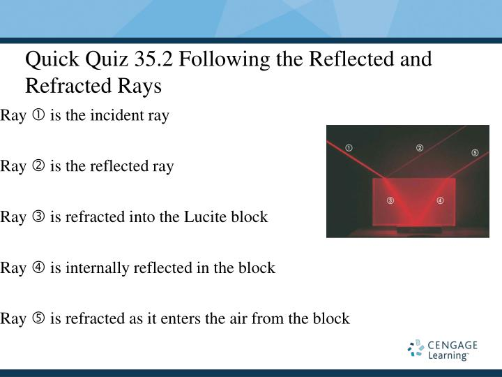 Quick Quiz 35.2 Following the Reflected and Refracted Rays