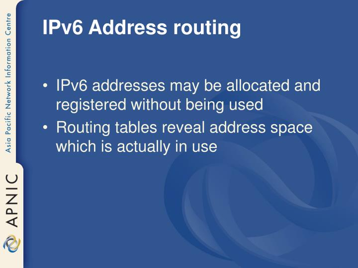 IPv6 Address routing