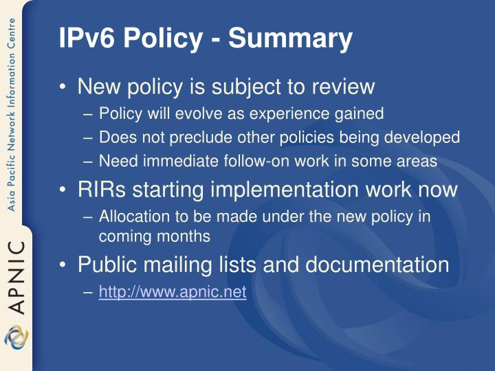 IPv6 Policy - Summary