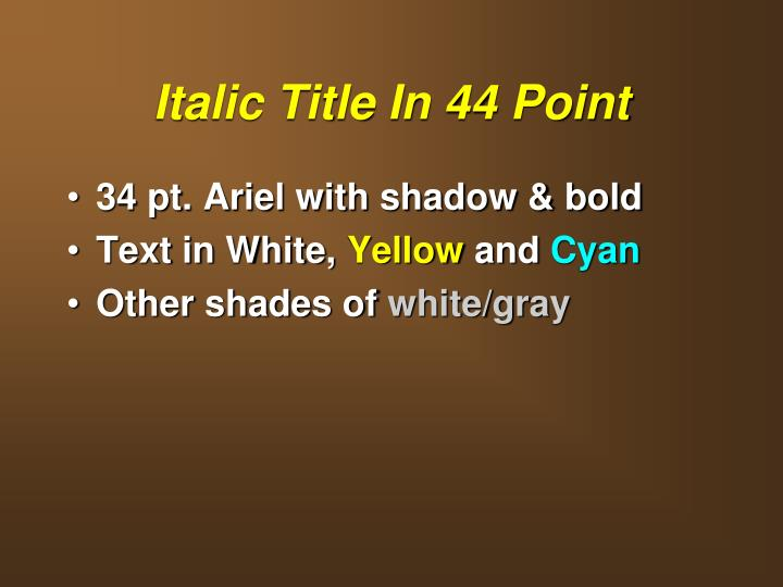Italic Title In 44 Point