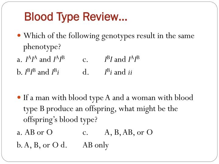 Blood Type Review…